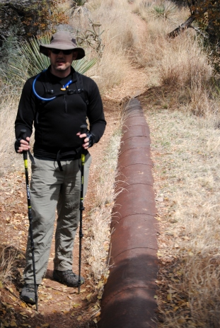 Old water pipeline used for hydraulic mining.