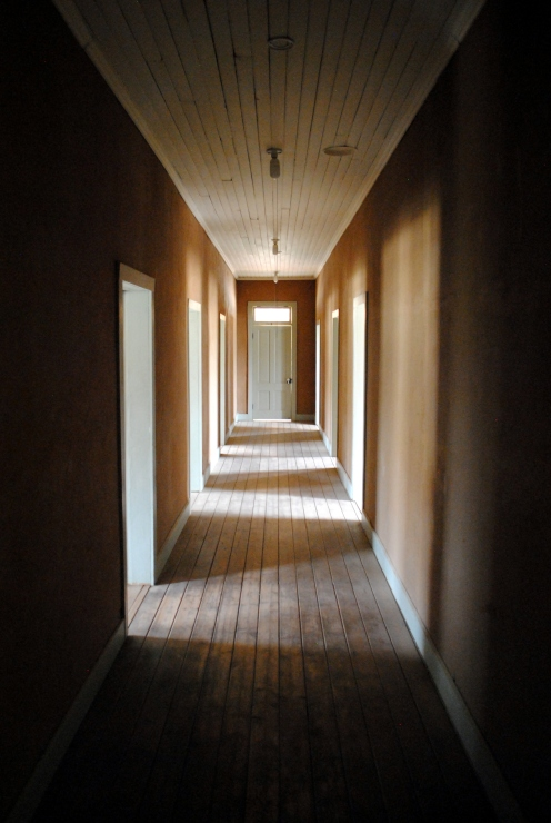 Creepy hallway of the old hotel.