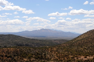 View looking south from Colossal Cave veranda.